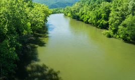 Horizonal View of the James River on Beautiful Spring Day. James River on a beautiful spring day located Botetourt County, Virginia, USA royalty free stock photography