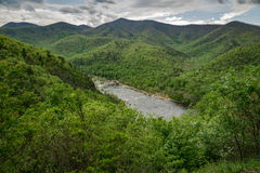 James River and the Blue Ridge Mountains. View of the James River from Rout 501 located in Amherst County, Virginia, USA with the Blue Ridge Mountains in the Stock Photography