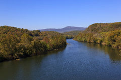 James River. Off the Blue Ridge Parkway in Virginia during the fall season royalty free stock photo