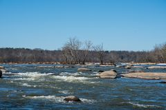 Rapids on the James River in Virginia royalty free stock images