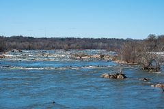 Rapids on the James River in Virginia stock image