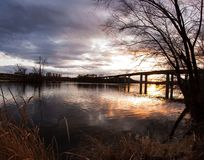 James River sunset Richmond, VA stock photography