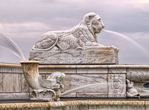 James Scott Memoral Fountain Lion. The James Scott Memorial Fountain on Belle Isle in Detroit, Michigan Stock Images