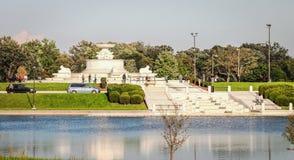 James Scott Pamiątkowa fontanna jest zabytkiem lokalizować w belle wyspy parku obrazy royalty free