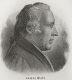 James Watt. (1736 - 1819) was a Scottish inventor and mechanical engineer whose improvements to the Newcomen steam engine were fundamental to the changes royalty free illustration