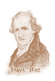 James Watt Engraving Style Sketch Portrait. For editorial use Royalty Free Stock Photo