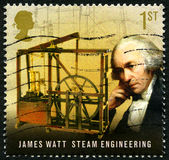 James Watt UK Postage Stamp. UNITED KINGDOM - CIRCA 2009: A used postage stamp from the UK, commemorating the work of famous inventor and mechanical engineer Stock Image