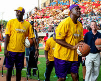 James Worthy and Magic Johnson Stock Photos