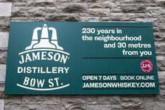 Jameson Distillery in Dublin. Dublin, Republic of Ireland - August 13th 2018: A sign above the entrance to the Jameson Distillery on Bow Street in the city of royalty free stock images