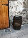 Jameson Irish Whiskey Barrel outside of Distillery in Dublin Ireland. Oak Barrel outside of Jameson distillery stock photo