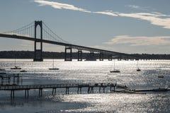 Jamestown bridge going over the ocean in Newport Rhode Island. A picture of the Jamestown bridge going over the ocean in Newport Rhode Island stock images