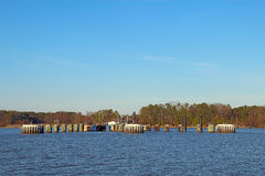 Jamestown-Scotland Ferry docks from the James River Royalty Free Stock Photo