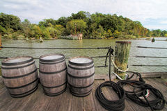 Jamestown Settlement Dock and Whiskey Barrels Stock Image
