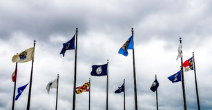 Jamestown, United States - August 8, 2015: Flags in the commemor. Ative plaza at Jamestown, Virginia, historic site Royalty Free Stock Photo