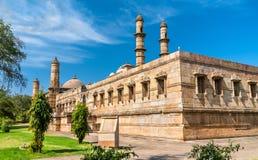 Jami Masjid en viktig turist- dragning på arkeologiska Champaner-Pavagadh parkerar - Gujarat, Indien arkivfoton
