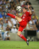 Jamie Carragher in action. BARCELONA, SPAIN : Jamie Carragher of Liverpool FC in action during a friendly match against RCD Espanyol at the Estadi Cornella-El Stock Photo