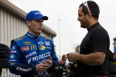 Jamie McMurray talks with Juan Pablo Montoya Royalty Free Stock Images