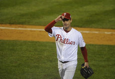 Jamie Moyer. Philadelphia Phillies pitcher Jamie Moyer tips his cap after being pulled in the seventh inning of  game 3 in the 2008 World Series Stock Image