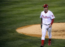 Jamie Moyer. Philadelphia Phillies pitcher Jamie Moyer reacts after a long flyball out in game 3 of the 2008 World Series Royalty Free Stock Photography