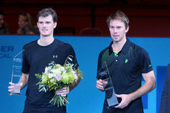 Jamie Murray (GBR) and John Peers (AUS). VIENNA, AUSTRIA - OCTOBER 25, 2015: Runners up Jamie Murray (GBR) and John Peers (AUS) pose with their trophies after Stock Image