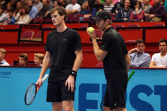 Jamie Murray (GBR) and John Peers (AUS). VIENNA, AUSTRIA - OCTOBER 25, 2015: Jamie Murray (GBR) and John Peers (AUS) during their final doubles match against Stock Photos