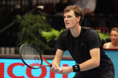 Jamie Murray (GBR). VIENNA, AUSTRIA - OCTOBER 25, 2015: Jamie Murray (GBR) during his final doubles match with John Peers (AUS) against Marcelo Melo (BRA) and Royalty Free Stock Photos