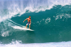 Jamie O'brien Surfing Pipeline Wave in Hawaii. Pipeline Pro Surfing Champion, Jamie O'brien, riding a nice wave at Pipeline on the North Shore of Oahu, Hawaii Stock Photos