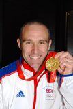Jamie Staff. Member of the British cycling team holding the gold medal that he won at the 2008 Beijing Olympics, at an event on November 23, 2008 in Ashford Royalty Free Stock Image