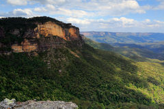 Jamison Valley Blue Mountains Naptional Park. Views over Jamison Valley, dappled sunlight as the clouds move overhead. Look closely you can see the tumble down stock photography