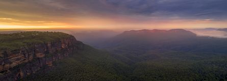Jamison Valley Blue Mountains Panorama Arkivbilder