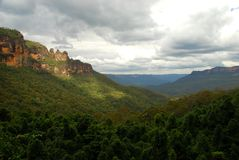 Jamison Valley, montagnes bleues parc national, Nouvelle-Galles du Sud, Australie Photo libre de droits
