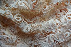 Jammed beige old-fashioned net like lace. Jammed beige old fashioned net like lace Royalty Free Stock Images