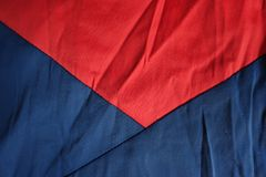 Jammed blue and red fabrics sewn together. Jammed blue and red cotton fabrics sewn together Royalty Free Stock Image