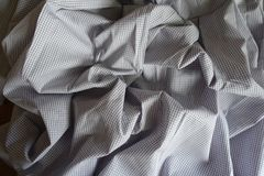 Jammed light gray classic chequered cotton. Textile Stock Photos