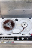 Jammed Old tape reel. Old jammed tape recorder view from above Stock Image