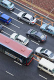 Jammed traffic in Dalian center, China Royalty Free Stock Photo