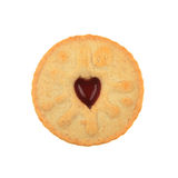 Jammy dodger. Biscuit with heart shaped center on white royalty free stock photo