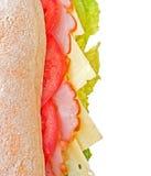 Jamón, queso y emparedado de los tomates Foto de archivo libre de regalías