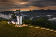 Free Jamnik, Slovenia - Aerial Drone View Of A Golden Sumer Sunrise At Jamnik St.Primoz Church Royalty Free Stock Photography - 205425287