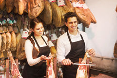 Jamon de boutique Images libres de droits