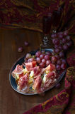 Jamon espagnol avec le melon Photos libres de droits