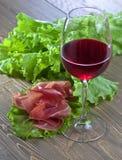 Jamon i czerwone wino Zdjęcie Stock