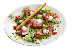 Jamon i mozzarelli sałatka Zdjęcie Stock