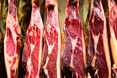 Jamon iberico. Spanish ham - legs of jamon iberico close-up Stock Images