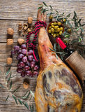 Jamon iberico, nuts and wine, top view Royalty Free Stock Image