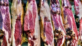 Jamon iberico in the spanish market. Close view Royalty Free Stock Photo