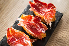 Jamon iberico tapas stock photography
