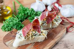 JAMON IBERICO ON TOAST. FOOD Stock Photos