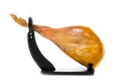 Jamon. Jamon serrano.Spanish ham on white background close up. Royalty Free Stock Images
