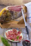 Jamon. Jamon serrano. Traditional Spanish ham close up. Dry cured spanish pork ham in a plate.old vintage wooden Stock Photos